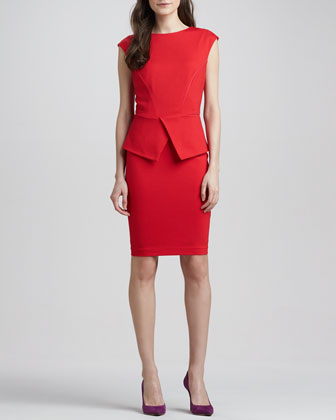 Evvie Split-Peplum Sheath Dress