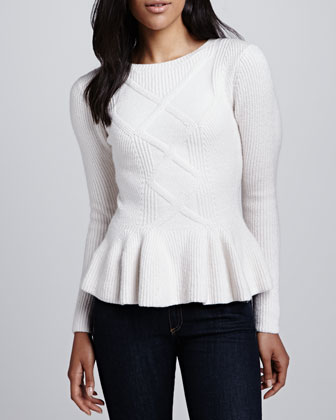 Ohavia Cable-Front Peplum Sweater