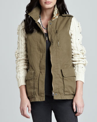 Cable-Sleeve Army Jacket