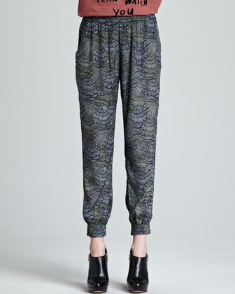 Relaxed Feather-Print Pants