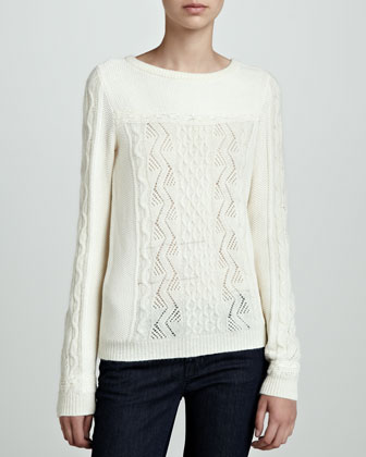 Cable and Lace-Knit Sweater
