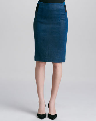 Leather/Ponte Pencil Skirt