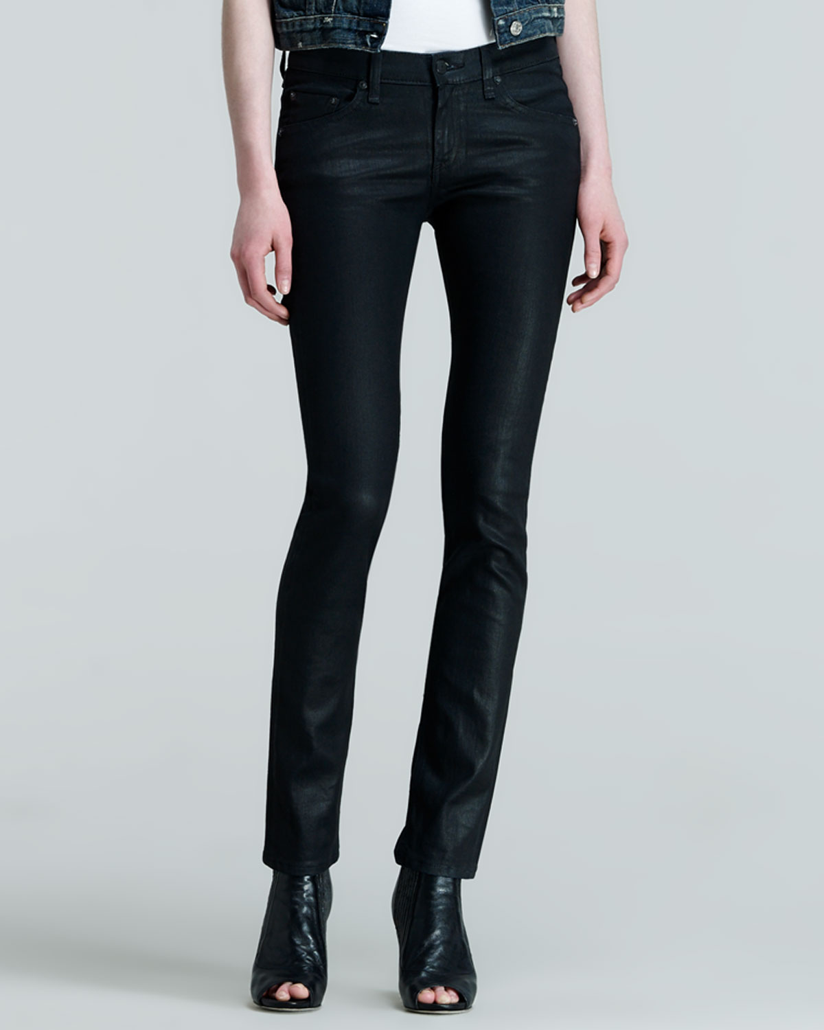 Womens The Skinny Black Coated Jeans   rag & bone/JEAN   Coated black (29)