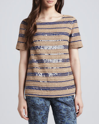 Theresa Sequin-Stripe Top