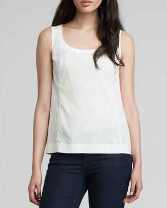 Elise Scoop-Neck Top, Ivory