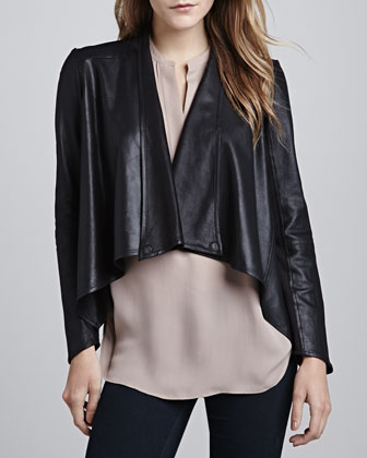 Cropped Leather Drape Jacket