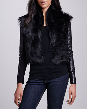 Shearling/Leather Combo Jacket
