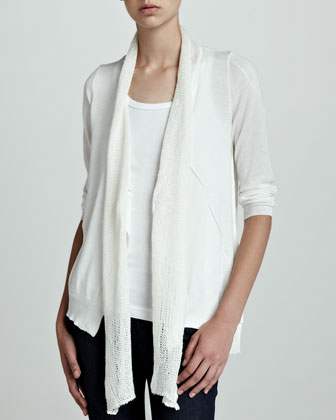 Long-Sleeve Scarf-Collar Cardigan