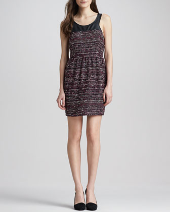 Leather-Top Tweed Dress