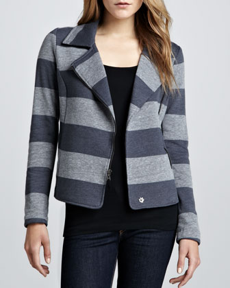 Striped Fleece Motorcycle Jacket, Gray