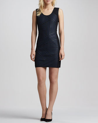 Leather-Striped Ponte Sheath Dress