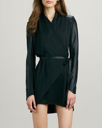 Leather-Sleeve Wrap Dress/Coat