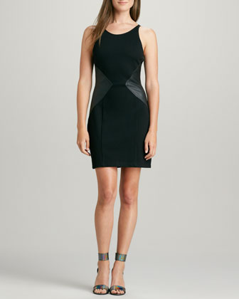 Stretch Limo Leather-Panel Dress