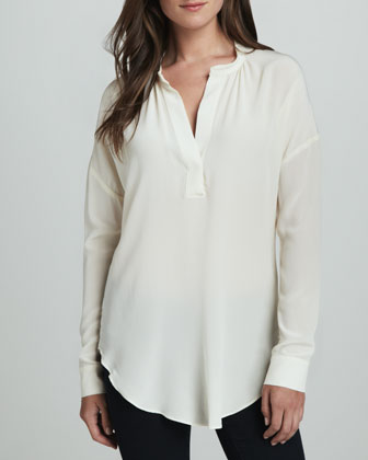 Split-Neck Semisheer Blouse