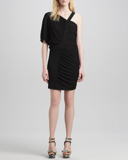 Milly Gathered Asymmetric Jersey Dress