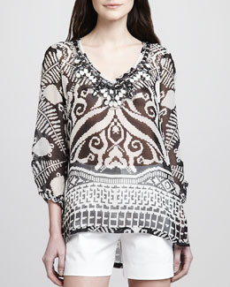 Milly Scarlett Printed V-Neck Top