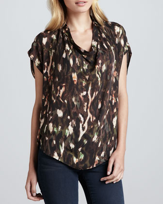 Cowl-Neck Abstract-Print Blouse