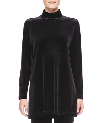 Velour Long-Sleeve Turtleneck Tunic, Women's