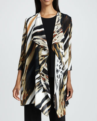 Animal-Print Georgette Jacket, Stretch-Knit Long Tank & Knit Straight-Leg ...