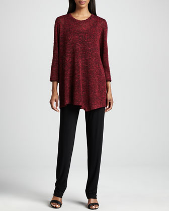 Asymmetric Cozy Knit Tunic, Scarf & Stretch-Knit Slim Pants, Petite
