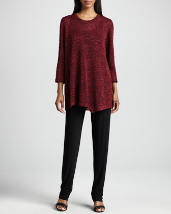 Asymmetric Cozy Knit Tunic, Scarf & Stretch-Knit Slim Pants, Women's