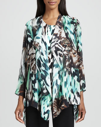 Urban Animal-Print Draped Jacket, Tank & Wide-Leg Stretch Pants, Petite
