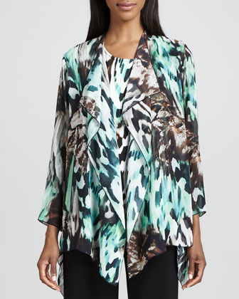 Urban Animal-Print Draped Jacket, Tank & Wide-Leg Stretch Pants, Women's