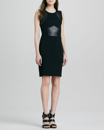Knit & Leather Inset-Waist Dress
