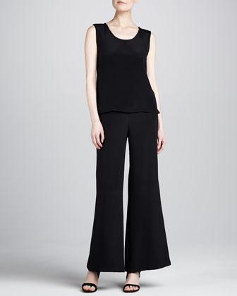 Mystic Jacquard A-Line Jacket, Silk Crepe Tank & Wide-Leg Crepe Pants, ...
