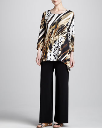 Bronze Animal-Print Tunic & Stretch-Knit Wide-Leg Pants, Petite