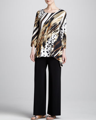 Bronze Animal-Print Tunic & Stretch-Knit Wide-Leg Pants, Women's