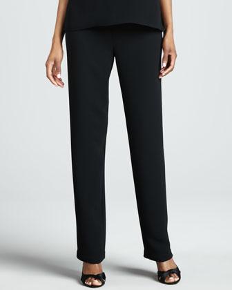 Microfiber Straight-Leg Pants