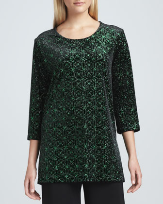 Jeweled Velvet Tunic, Petite