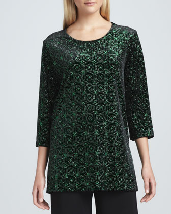 Jeweled Velvet Tunic, Emerald