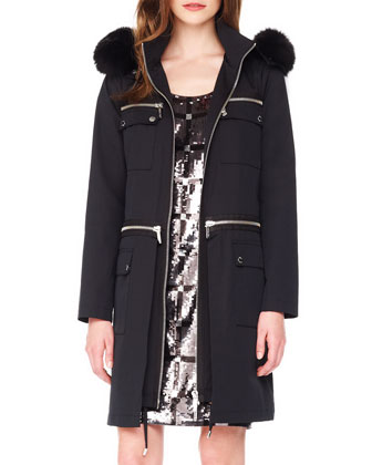 Fur-Trim Zipper Anorak