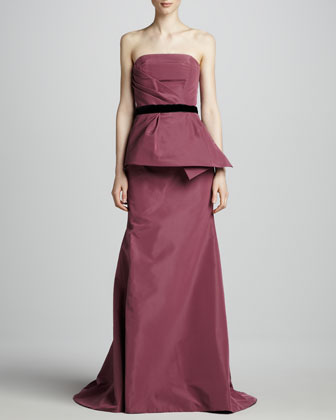 Strapless Peplum Gown, Mulberry