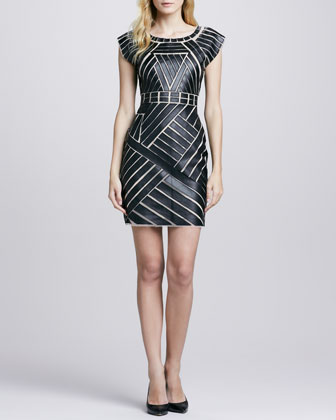Mesh/Faux-Leather Fitted Dress
