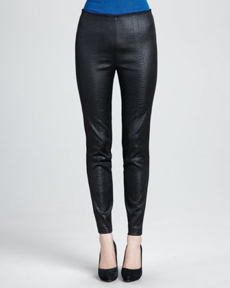 Crocodile-Embossed Ponte Leggings