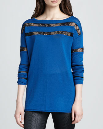 Arlene Lace-Stripe Knit Sweater