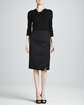Straight Skirt with Front Slit