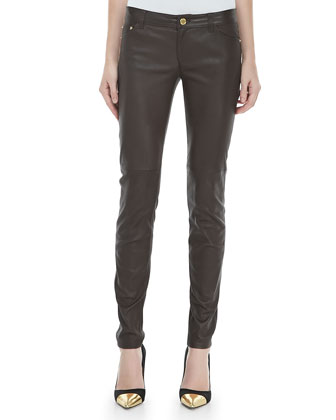 Stretch-Leather Skinny Jeans