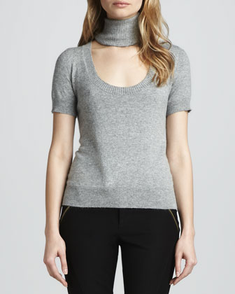 Reversible Deedee Cutout-Turtleneck Sweater, Gray