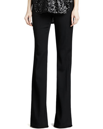 Rachel Flared Tuxedo Wool Pants, Black