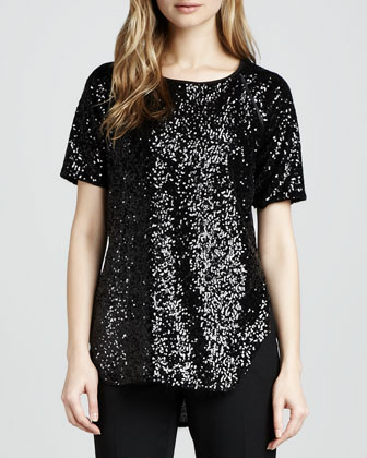 Cecile Raglan-Sleeve Sequin Blouse, Black
