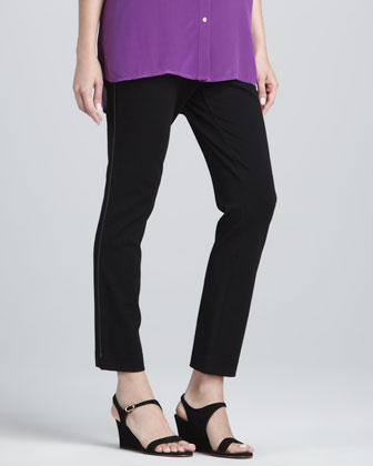 Leather-Trim Ponte Ankle Pants