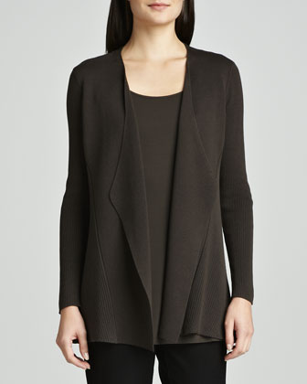 Silk-Cotton Interlock Sweater Jacket