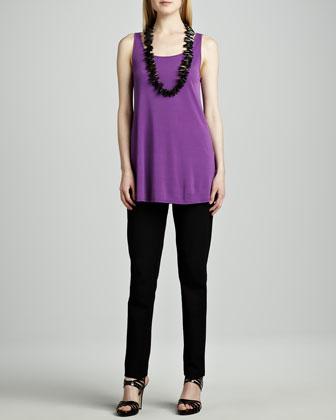Airy Linear Long Tunic, Silk Jersey Long Tunic & Straight-Leg Ponte Pants, ...