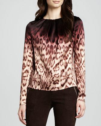 Janine Ombre Leopard-Print Blouse