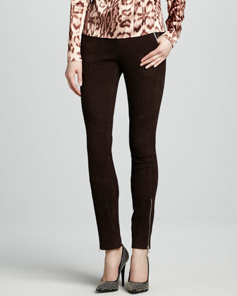 Astrid Suede Zip-Pocket Pants