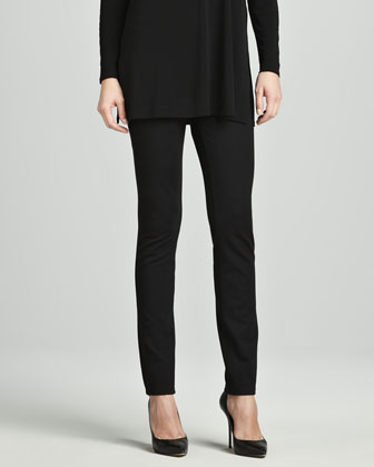 Silk Jersey Long-Sleeve Tunic & Stretch Ponte Skinny Jeans